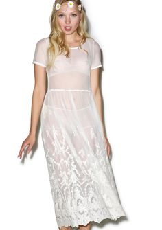 Lover Come Over Maxi Dress cuz we're burnin' just waiting for your return, babe. This ethereal short sleeve maxi dress features a suuuper soft and completely sheer cream mesh construction, rounded neckline, babydoll style cut, soft pleating, and beautiful scalloped lace embroidery all over the hem and climbin' up the skirt.