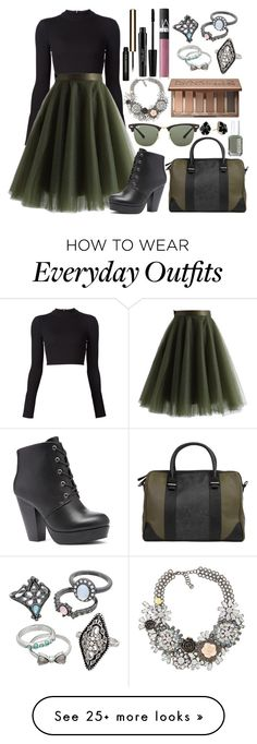 """""""black sweater contest"""" by emily-hinz on Polyvore featuring Tanya Taylor, Chicwish, Wild Diva, Nila Anthony, Ray-Ban, Essie, Kendra Scott, Urban Decay, Clarins and NARS Cosmetics"""