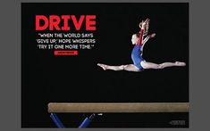 "Gymnast on Balance Beam ""Drive"" (Try It Again) Inspirational Motivational  Gymnastics Poster - Jaguar – Sports Poster Warehouse"