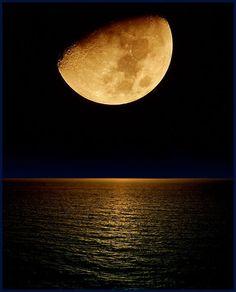 Golden moon over the ocean. #beauty