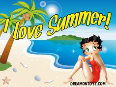 I Love Summer! ➡ For more Betty Boop graphics & greetings:  http://bettybooppicturesarchive.blogspot.com/  ~And on Facebook~ https://www.facebook.com/bettybooppictures ~ Betty Boop wearing red swim suit on the beach