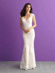 Wedding Dress out of Allure Romance 3009 Silk charmeuse adds a shimmering contrast to this lace sheath. Bridal Gown Styles, Bridal Wedding Dresses, Wedding Dress Styles, Bridal Style, Bridesmaid Dresses, Lace Wedding, Belle Bridal, Wedding Frocks, Wedding Outfits