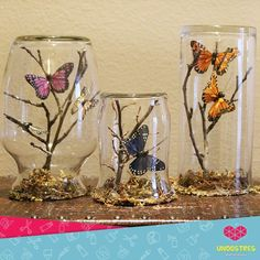 Easy and Fun Valentines Crafts for Kids to Make – Paper Butterfly Origami Art Butterfly Tree, Butterfly Crafts, Butterflies, Mason Jar Crafts, Bottle Crafts, Butterfly Centerpieces, Diy Butterfly Decorations, Deco Nature, Butterfly Baby Shower