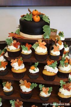 thanksgiving cupcake cakes   Fall Themed Cupcake Tower cake