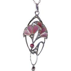 Jugendstil Plique A Jour Herman & Speck Silver Pendant Necklace Purple