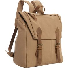 Vagabond Canvas Casual Travel Backpack - Khaki - Laptop Backpacks ($50) ❤ liked on Polyvore featuring bags, backpacks, tan, laptop rucksack, tan backpack, canvas rucksack, brown backpack and buckle backpack