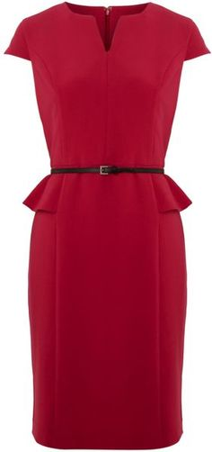 Adrianna Papell Peplum Dress with Belt in Red (pink) | Lyst