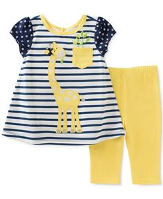 Dots, stripes and a friendly giraffe stretch the charm of Kids Headquarters' two-piece tunic-and-leggings set. Baby Girl Fashion, Toddler Fashion, Toddler Outfits, Kids Outfits, Kids Fashion, Baby Kind, My Baby Girl, Baby Girls, Cute Little Girls