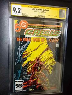 CW,Crisis on Infinite Earths # 8,CGC,9.2,SS by George Perez,Death of the Flash! The Flash New 52, Anti Monitor, Flash Barry Allen, Reverse Flash, George Perez, Infinite Earths, Blue Beetle, Thessaloniki