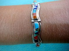 Inlay sterling silver Turquoise Lapis and other by surfshopping, $368.00