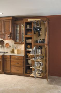I like the shelf section and then large cabinet that has all pots and pans in it.