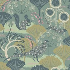 The Borastapeter Mårdgömma wallpaper was designed by Hanna Werning as part of her Wonderland collection for Borastapeter. This nature-inspired illustrative pattern features a backdrop of nature dotted with starry animal silhouettes hiding amongst the f Forest Wallpaper, Green Wallpaper, Modern Wallpaper, Wallpaper Roll, Designer Wallpaper, Funky Wallpaper, Wallpaper Lounge, Coastal Wallpaper, Nautical Wallpaper