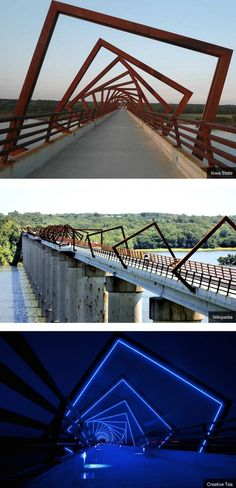 This bridge is part of the 25-mile High Trestle Trail in Iowa and we think it is so neat!: