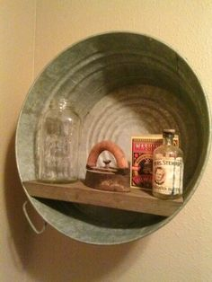 Bathrooms-Old wash tub reclaimed bathroom shelf, I would love to do this in my laundry room, w/old washboard next to it. Country Decor, Rustic Decor, Farmhouse Decor, Antique Decor, Country Style, Rustic Charm, Vintage Decor, Vintage Style, Primitive Laundry Rooms