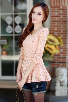 Long Sleeve, Lace Shirt, YRB0215, Lace Blouse, Pink, White, Black, Blue, YRB Fashion,