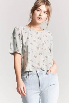 Product Name:Floral Woven Top, Category:top_blouses, Shop Forever, Forever 21, F21, Tees, Shirts, Latest Trends, Best Deals, Lace, Dresses