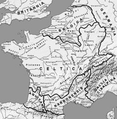Gallia - Gaul on the eve of the Gallic Wars. Roman ethnography divides Gaul into five parts: Gallia Belgica, Gallia Celtica (largely corresponding to the later province Gallia Lugdunensis), Gallia Cisalpina, Gallia Narbonensis and Gallia Aquitania.