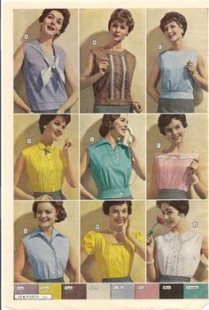 retro vintage fashion style color photo print ad models magazine catalogue women's blouses summer tops shirts 50s 60s yellow green pink blue white brown bow button