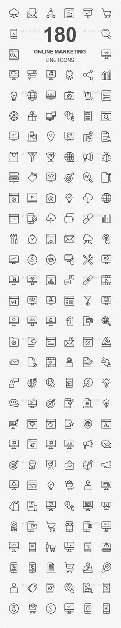 Online Marketing Line Icons