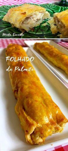 Folhado de palmito, leva poucos ingredientes, fica delicioso e é facílimo de fazer. Basta refogar alho, cebola, palmito e montar com massa pronta!