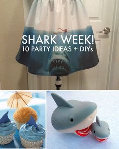 "It's Shark Week!!! My favorite time of year on TV!! If I ever get crazy enough to have a ""party"" this will be good for it! 10 Party Ideas and DIYs"