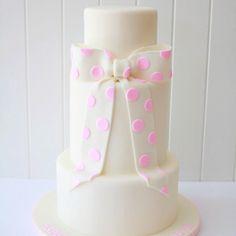 Pink Polka Dot Bow Cake