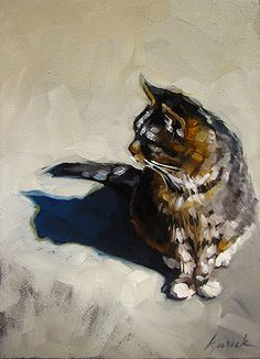 """Karin Jurick ~ """"The Bitz"""" ~ This new piece also marks Karin's 200th daily painting - and she wanted it to be special and a little more personal. And on this bright, beautiful, spring day, her cat, Bitz, posed for her moment in the sun."""