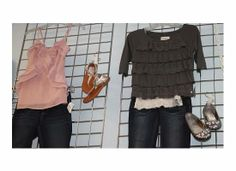 Girl outfits! Pink ruffle tank, jean capris and sandals....Grey ruffle top with jeans and sparkle flats!