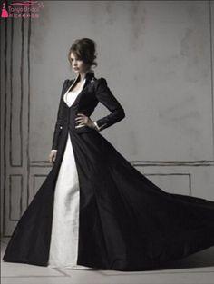 Real Gothic Beaded White/ Ivory And Black Long Sleeve Black Taffeta Coat Elegant Wedding Gown