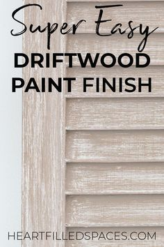 How to easily achieve a driftwood paint finish without removing the old paint. these three simple steps to get an aged rustic paint finish on your next project. Driftwood Furniture, Painted Driftwood, Chalk Paint Furniture, Repurposed Furniture, Furniture Projects, Furniture Makeover, Diy Furniture, Furniture Design, How To Whitewash Furniture