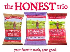 That's right, Jackson's Honest Chips are now available in Sea Salt, Sea Salt & Vinegar, and Chili Mango Lime. These heirloom potatoes are fried in COCONUT OIL for a junk free snack.