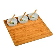 Three-Bowl Bamboo Entertaining Set Cheese Boards & Cheese Board Sets (98 BRL) ❤ liked on Polyvore featuring home, kitchen & dining, serveware, food, food and drink, kitchen, filler, picnic at ascot, bamboo serveware and white square bowl