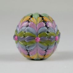 Fiesta Glass Focal Bead  Pastel by NorthFireDesigns on Etsy