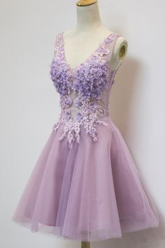 2016 homecoming dress,floral homecoming dress,a-line homecoming dress,lavender homecoming dress,homecoming dress with appliques,knee length homeoming dress,romantic homecoming dress
