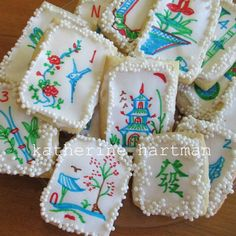 Made from scratch, mahjong cookies. Sugar cookies with sugar glaze. Decorated with hand drawn, rice paper mahjong tiles. Adorned with sugar pearls. Mah Jongg.