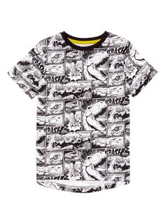 Showcasing an all over dinosaur print in a comic style, this t-shirt is sure to be one he return to again and again. With a contrast collar and short sleeves, this t-shirt is not to be missed. Boys multicoloured lined dinosaur t-shirt Lined dinosaur all over print Contrast collar Short sleeves Keep away from fire