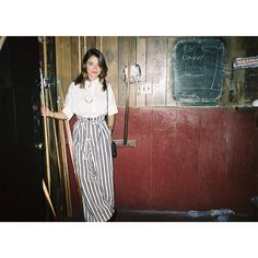 The actress Lola Bessis wearing our striped pants #tara_jarmon