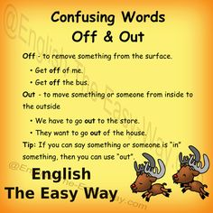#Englishlesson #ConfusingWords  I want the dogs ______ the bed. 1. off 2. out