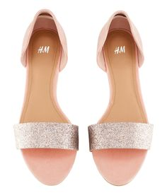 H / pink and silver glitter sandals / 17.95