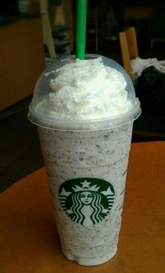 Oreo Frappuccino from the Starbucks Secret Menu! Just order a vanilla carmel frappuccino  and ask them to add chocolate chips!