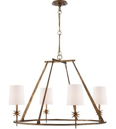 Visual Comfort S5315GI-NP Studio Etoile 4 Light 28 inch Gilded Iron Chandelier Ceiling Light #visualcomfort #lightingnewyork #lighting