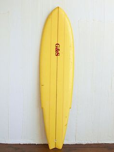 Vintage Yellow Gordon and Smith Surfboard
