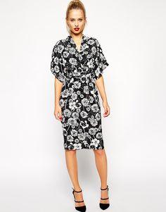 Image 1 ofASOS Kimono Wrap Dress in Mono Floral