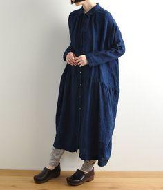 インディゴワイドシャツワンピース(ネイビー)【リンネル3月号掲載】