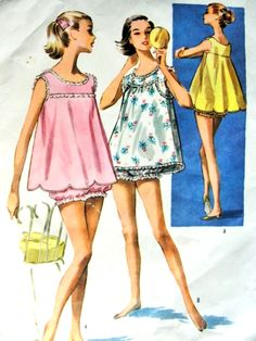 1950s Baby Doll Pajamas Pattern McCalls 4030 Flirty Shortie PJs Lingerie Two Styles Of Tops Bust 34 Vintage Sewing Pattern