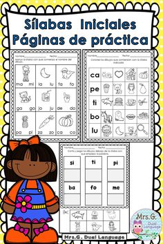 Spanish syllables worksheets for Kindergarten or first grade bilingual, dual language or Spanish immersion classes Dual Language Classroom, Bilingual Classroom, Bilingual Education, Spanish Classroom, Teaching Spanish, Spanish Grammar, Language Logo, Language Quotes, Language Activities