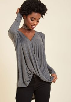 Weekend Workspace Long Sleeve Top. With your desk neatly organized and this grey top covering you in comfort, it's time to get cracking on those projects! #grey #modcloth
