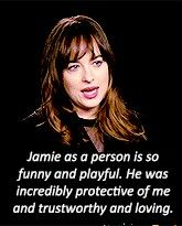 Dakota Johnson about Jamie Dornan on the Fifty Shades of Grey movie set