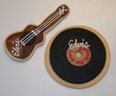 Elvis Love Me Tender Cookies! Elvis Birthday Party, 75th Birthday, 50th Party, Birthday Party Themes, Birthday Ideas, Royal Icing Cookies, Sugar Cookies, Cake Cookies, Elvis Presley