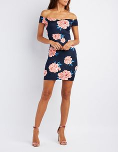 cd8217c18f2 Floral Off-The-Shoulder Bodycon Dress  ad Sexy Cocktail Dress